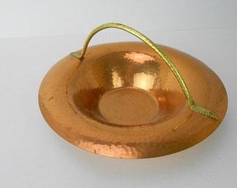 Vintage happered copper basket Revere copper basket Revere Rome NY hammered copper and brass basket