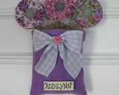 Girl Wall/Door Hanger - Personalized - Purple and Gray - Fabric Flowers - Shower Gift - Baby Girl Nursery - Grey and  Lavender - Room Decor