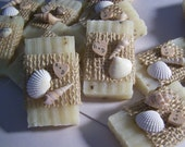 Beach wedding favors, 30 bridal shower favors soaps, seashells soaps. mini soaps, ivory lavender soaps