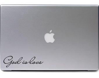 Macbook - 2nd version God is love apple - religious car truck sticker cute puppy dog bumper sticker decal