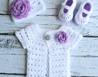 Girls Crochet Hat, Shoes and Cardigan set, White and Purple