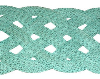"Recycled Rope Rug 31"" x 12"" Green Outdoor Mat Doormat Nautical Beach Decor Green Turquoise Aqua"