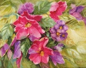 Pink Flower Original Art, Purple Floral, Watercolor Painting