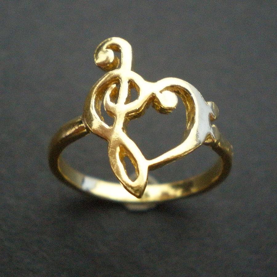 Treble Clef Heart Ring