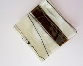 Chocolate and Vanilla with Black and White Streamers Fused Glass Dish
