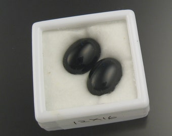 12 x 16 mm Black Onyx cabs Parcel of 2 stones