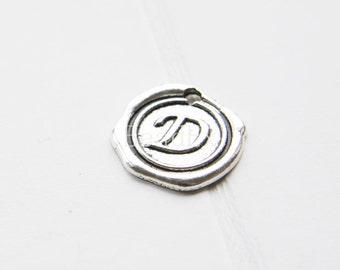 12pcs / Wax Seal Letter / Oxidized Silver Tone / Base Metal / Charm / Alphabet D (YA15706//E297)