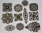 HUGE Filigree Assortment of Antique Bronze Steampunk Filigree Findings Qty 22 - 2 of each