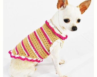 Cute Dog Clothes Unique Crochet Pet Clothing Orange Flower