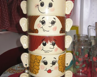 Vintage 1950's  Stacking Family Soup ceramic Bowls silly faces