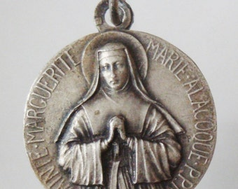 SAINT  MARGARET ALACOQUE Vintage French Religious Medal on 18 inch sterling silver rolo chain