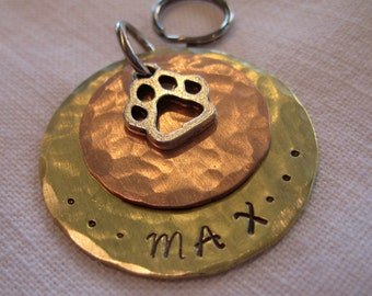 pet tag- Hammered Brass and Copper Disc with Paw Charm
