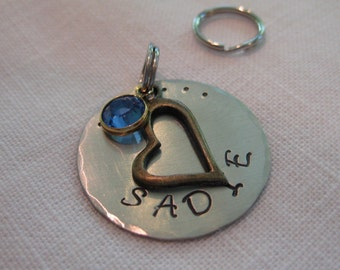 Pet Tag- Hand Stamped with Open Heart Charm and Crystal