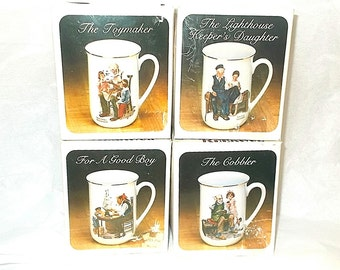 Norman Rockwell Museum Mugs cups lot in boxes toymaker Lighthouse keeper cobbler Good Boy