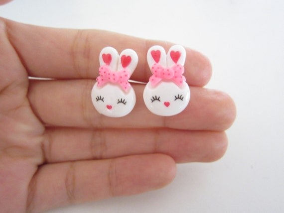 Oversized Bow Bunny Silver Plated Stud Earrings
