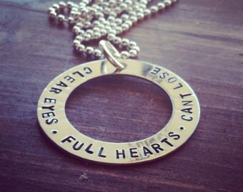 """Hand Stamped  """"Clear Eyes Full Hearts Can't Lose"""" Quote from Friday Night Lights Necklace"""
