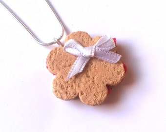 Food Necklace Biscuit Necklace ( cake necklace miniature food miniature biscuit food pendant polymer clay jewelry mini food jewelry )