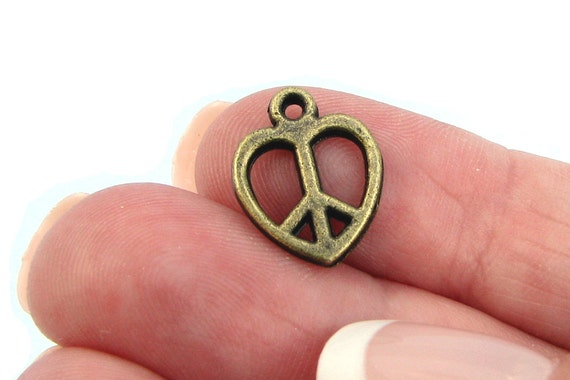 Bronze Charms: 10 Antique Bronze Heart Peace Love Charms / Brass Ox Peace Heart Pendants 11.5x14.5mm ... Lead, Nickel & Cadmium Free J4A