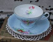Shabby Blue  Flower Trimont China Made in Occupied Japan Cup and Saucer
