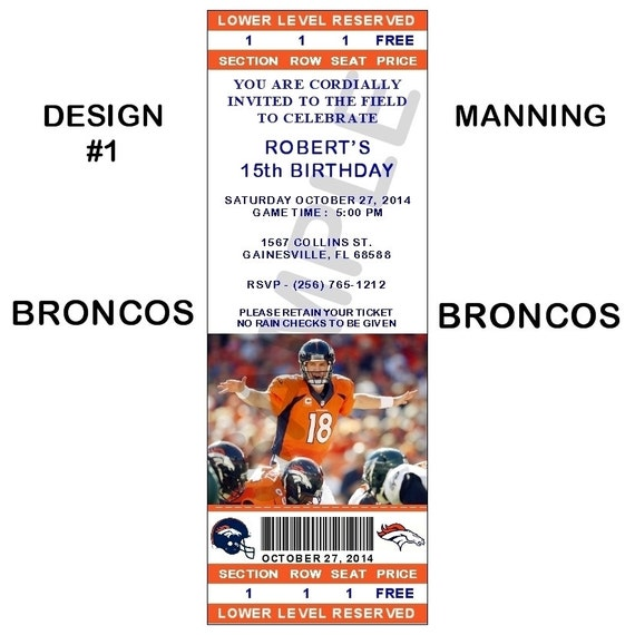 12 Personalized Denver Broncos Ticket Party By R3DOXIES On Etsy