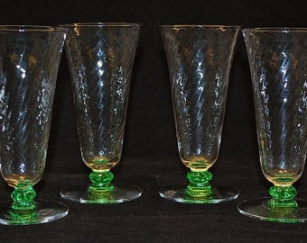 Spiral Optic Parfait's with crystal bowl & foot with green stem set of 4