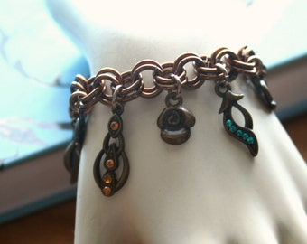 Bronze Flower Charm Bracelet