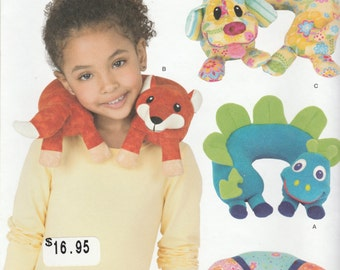 Simplicity pattern 1518 Child's Animal Neck Pillow Dragon Caterpillar Fox Dog
