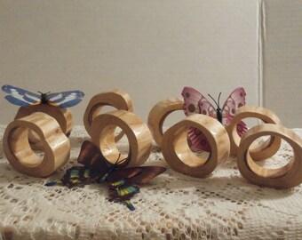 Wood napkin rings Set of 8