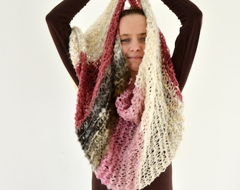Maia boucle hand knit loop cowl scarf in ecru, cream, pink, brown