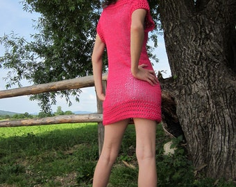 Hand knit, crochet long tank top vest in pink for spring summer.
