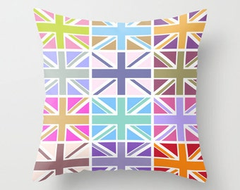 Throw Pillow Cover - Union Jack - Pastel Colors - 16x16, 18x18, 20x20 - Nursery Bedroom Original Design Home Décor by Adidit