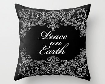 Throw Pillow Cover - Christmas Peace On Earth Angel Frame - 16x16, 18x18, 20x20 - Pillow case Original Design Home Décor by Adidit