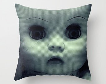 Throw Pillow Cover - Scary Doll - Blue Green -Two Designs - 16x16, 18x18, 20x20 - Pillow Case Original Design Home Décor by Adidit
