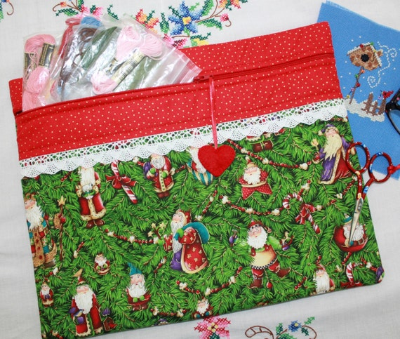 Vintage Santa Ornaments Cross Stitch, Sewing, Embroidery Project Bag