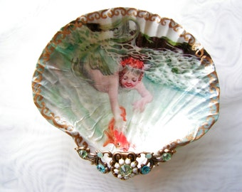 Water Baby Mermaid Medium Shell Jewelry Dish