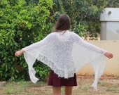 SALE Spring Scarf Rustic knitted white  Wrap  Shawl  wedding accessory