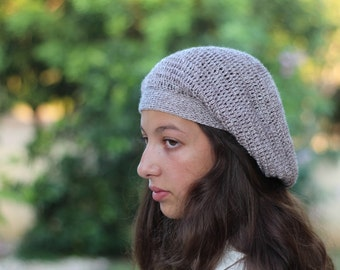 Bohemian Slouch Hat, Hand Knit Beret, Womens Crocheted Hat