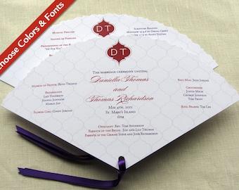 Elegant Wedding Program - Indian Monogram - Fan Program - Outdoor or Church Ceremony - Custom Colors