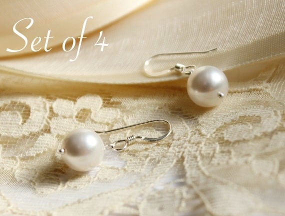 Bridal Pearl Earrings - Set of Four 4 - Wedding Jewelry - White or Ivory Pearl Earrings - Sterling Silver Bridal Earrings - Bridesmaids Gift