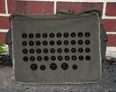 Vintage Typewriter Keys - Over The Shoulder Messenger Bag - Khaki Green
