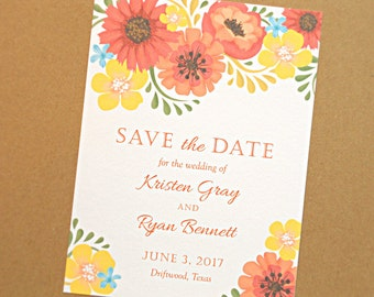 Save the Date Wedding Card, Orange and Yellow Vintage Flowers