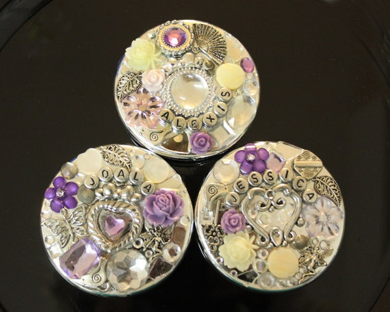 CUSTOM for TRACI - Personalized Bridesmaid Compact Mirrors
