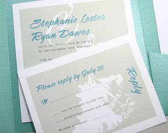 Beach Wedding Invitation Classic Seashell Siloette Pocketfold Wedding Invitation Teal Taupe