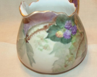 Handpainted Signed Vienna Austria Lemonade Pitcher Purple Berries Green Foliage Gold Edged Floral