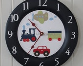 Wall Clocks. Boutique Wall Clocks . Custom Clocks. Childrens Clocks . Solid Wood . Matching Name Blocks . Transportation . Train Car Plane