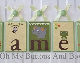 Hanging Name Letters . Name Blocks . Nursery Decor . Wall Letters . Hanging Wood Name Blocks . Jungle Theme . James