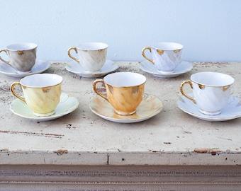 Beautiful Set of 6 Small Iridescent Japan Tea Cups and Saucers