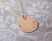 Kids Name Necklace Gold Fill Disc Tag Personalized Jewelry