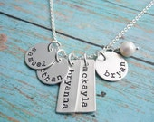 Necklace with Five Kids Names Sterling Silver Stamped Discs and Tags One Two Three Four Five Six Seven Kids Names