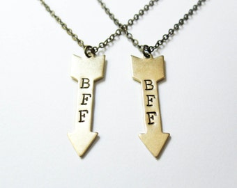 Best Friend Necklace - Arrows - BFF Necklace Set - Boho Chic Necklace - BFF Jewelry - Arrow Necklace - Teen Jewelry - Friendship Necklaces